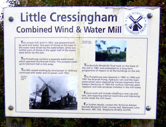 Entrance sign Little Cressingham Mill
