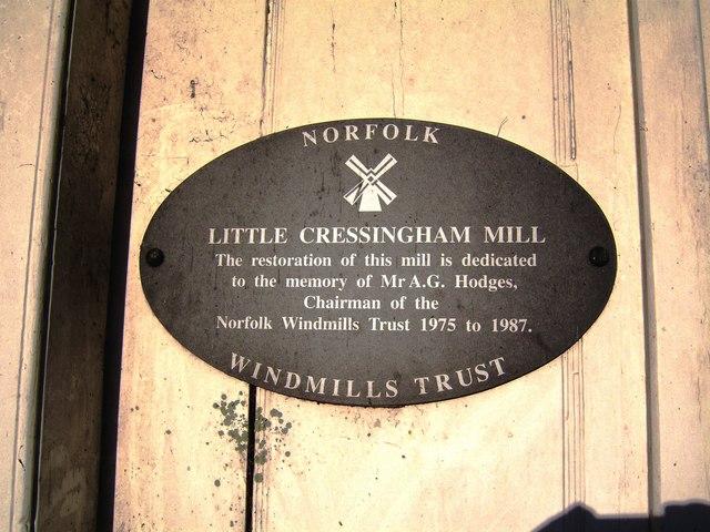 Little Cressingham Mill - restoration plaque