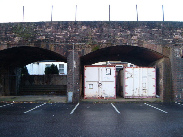Containers under railway arches, Exeter St Thomas