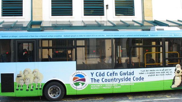 Express Motors' Countryside Code Bus at Caernarfon Bus Station