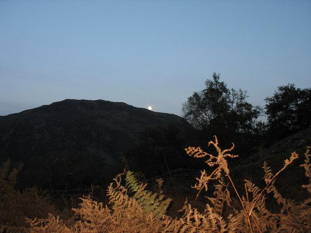 The Rising  Moon over Craig y Llan