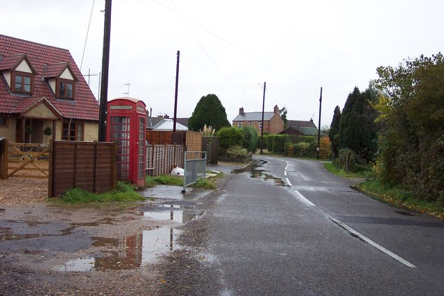 Village street with Red Phone Box, Wiggenhall St Mary Magdalen