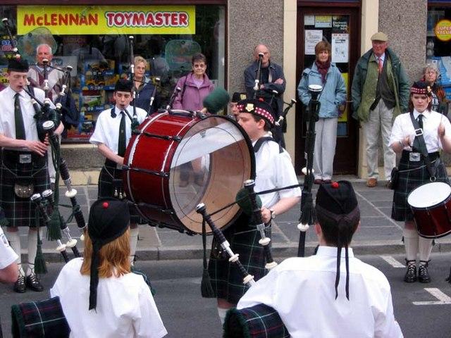 Pipe band in Albert St, Kirkwall