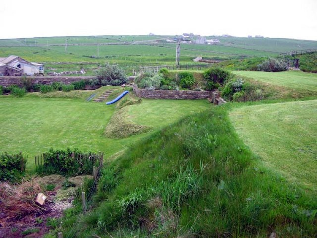 Braehead from the gardens of the old mill Pierowal, Westray, Orkney