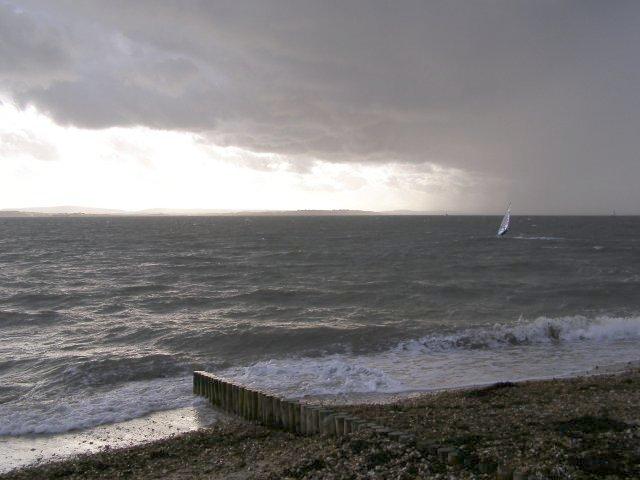 Windsurfing off Lepe beach