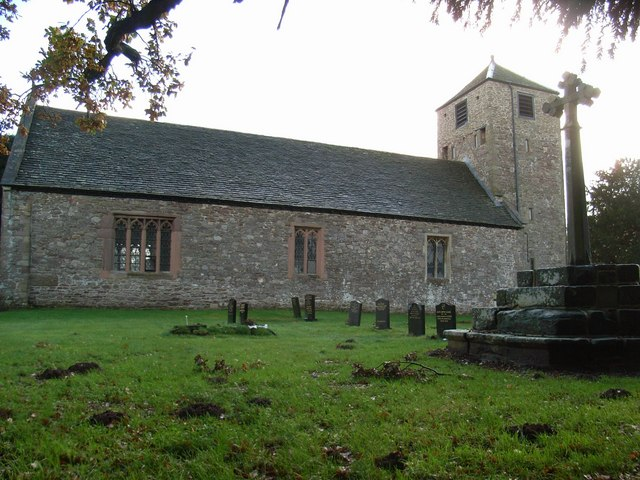 St. Cadoc's Church and restored cross.