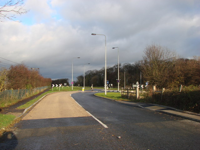 The Old Great North Road, Brotherton, junction with the former A1 Trunk Road, now re designated as the A1246