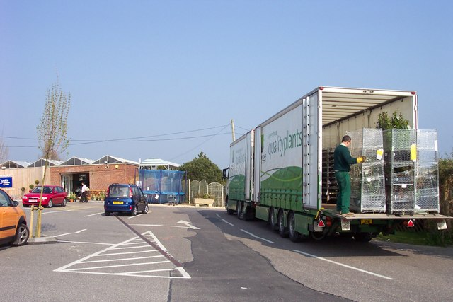 Unloading plants at Gould's Garden Centre