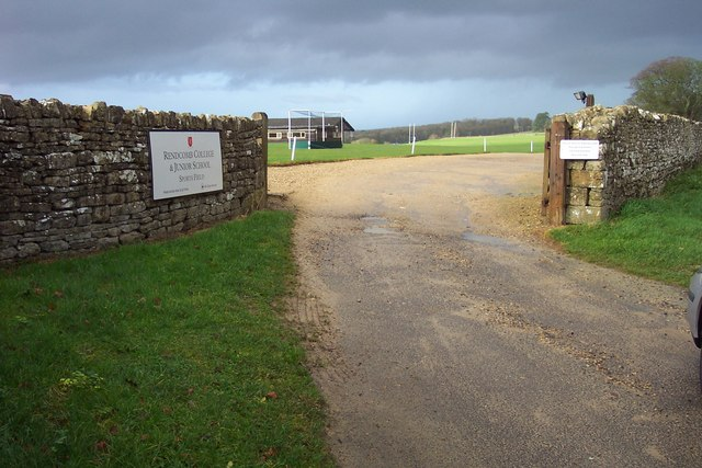 Entrance to sports fields belonging to Rendcomb College.