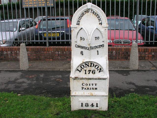 Mile marker in Bridgend (Outside Police HQ)