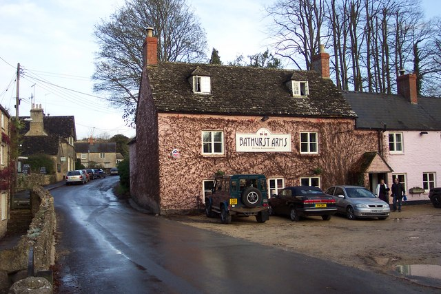 Bathurst Arms and village street, North Cerney.