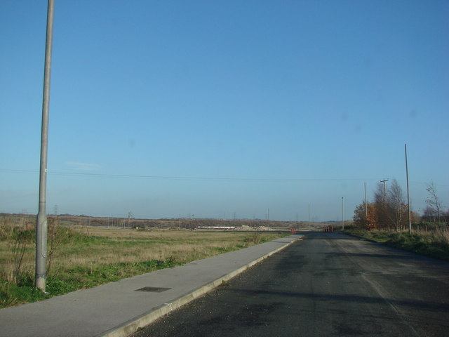 Road into site of new Industrial Estate, off Hague Lane, the B6422.
