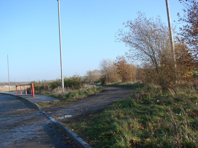 Footpath off new industrial estate road, off Hague Lane.