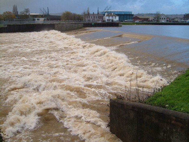 Trews Weir in flood