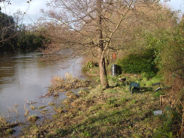 Flooded gardens, Bonhay Road, Exeter