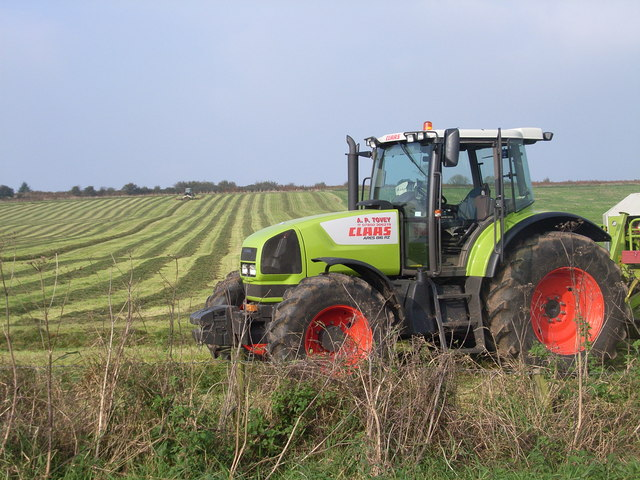Tractor working near Tynings farm
