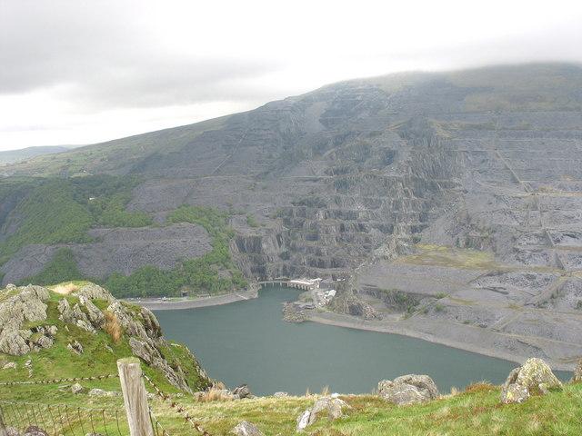 Llyn Peris and Dinorwig Quarry from Y Derlwyn