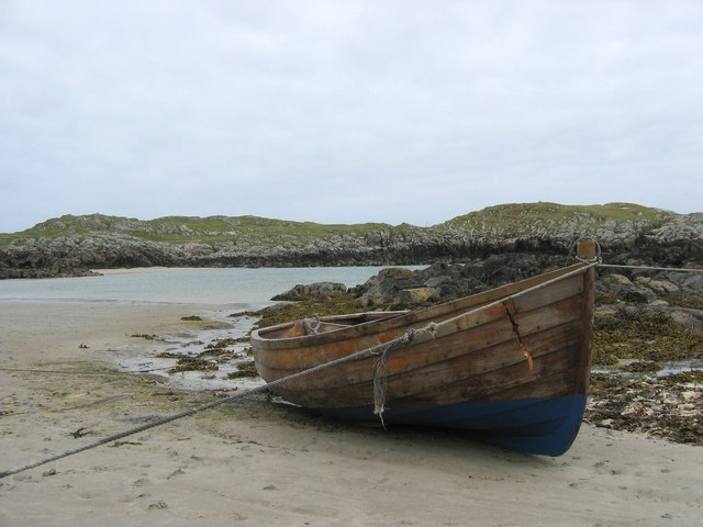 View of boat at Sorisdale Bay at low tide