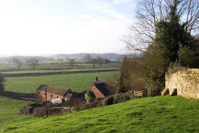 View over Staffordshire dairy country.