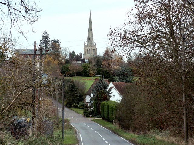 A view of Thaxted as approached from Debden