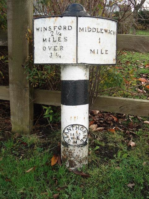 Milepost Stanthorne Near Winsford