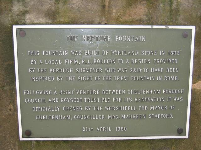 Plaque at the Neptune Fountain