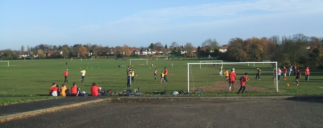 Football training on the Recreation Ground
