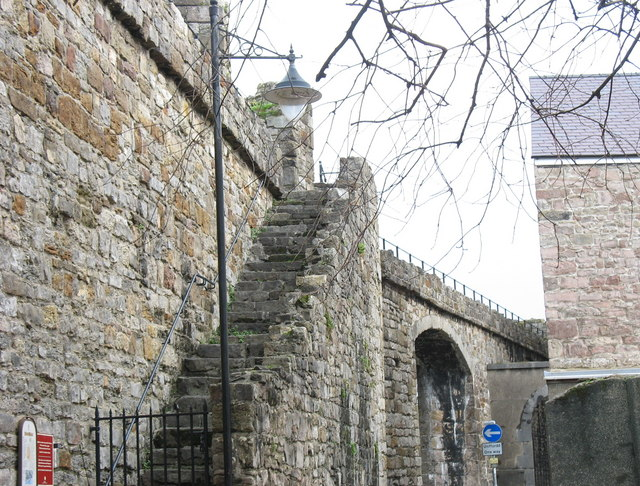 Steps from Church Street giving access to Caernarfon's town walls