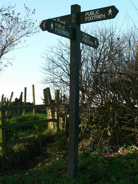 Signpost on the Leeds Country Way, Hunger Hills, Horsforth