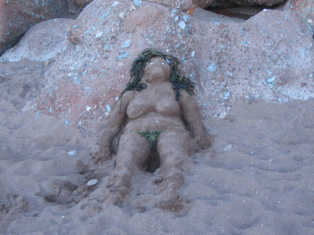 Sand sculpture at Ness Cove