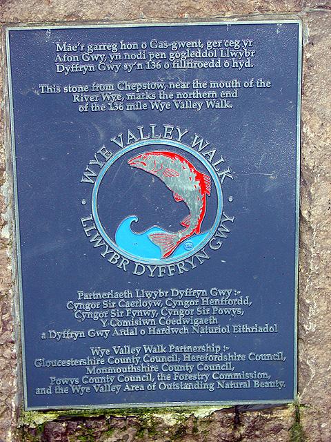 Plaque on the Wye Valley Walk Stone, Hafren Forest
