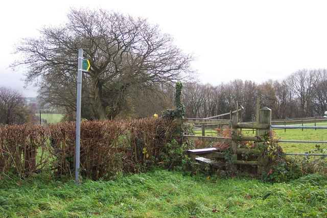 Footpath sign and stile.