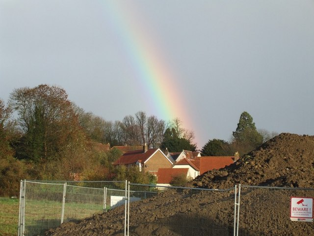 Rainbow over new houses