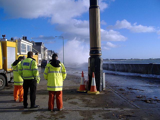 High tide on Castletown Promenade, Isle of Man