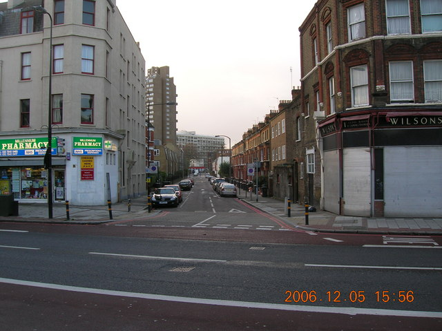 South Island Place from across the Brixton Road