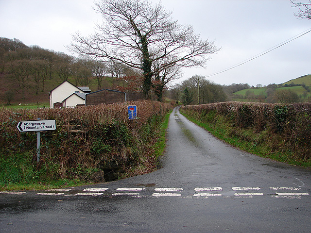 Lane to Troed-y-rhiw and Pant-glas