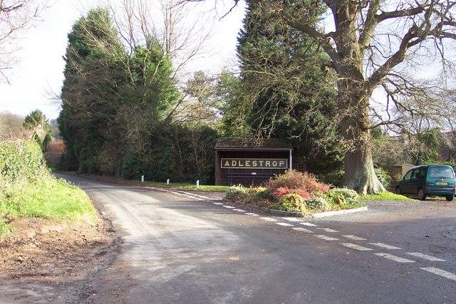 Adlestrop village sign and bus shelter