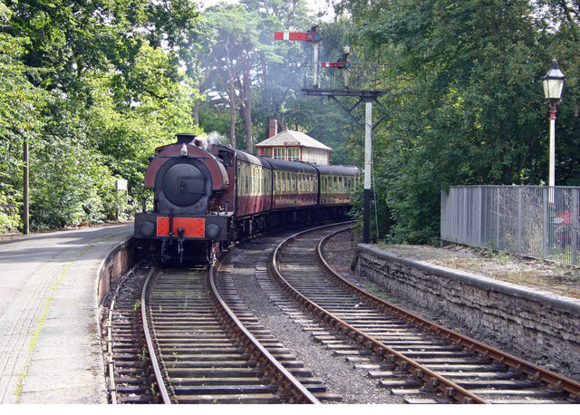 Haverthwaite Steam Railway loco arriving at Lakeside Windermere