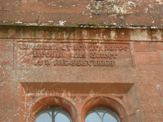 Inscription on the tower of Newbiggin Hall