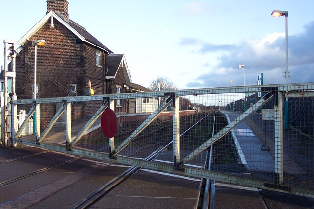 Hammerton Station and level crossing gate.