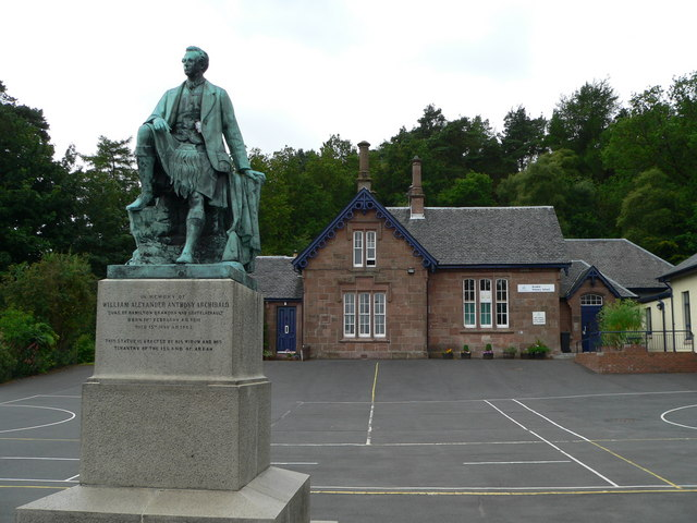 Statue and school, Brodick