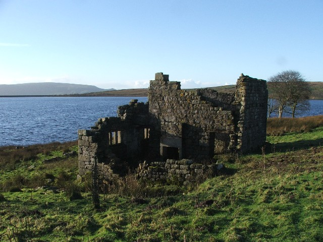 Ruin at Grimwith Reservoir.