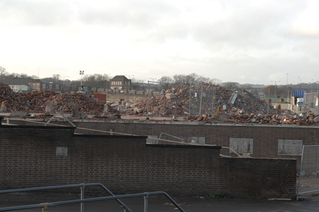 The parcel office of Austin seen over the rubble