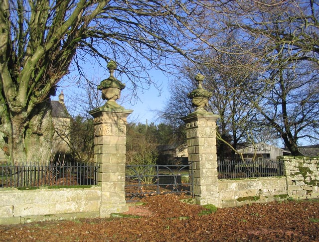 Gateway and pillars at Overacres Farmhouse
