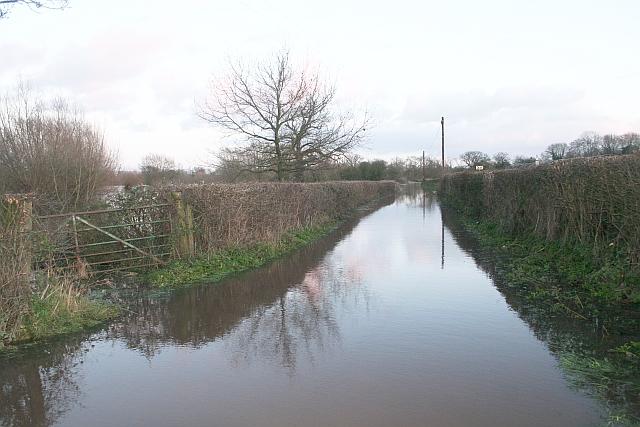 Lane in Flood, near Upton