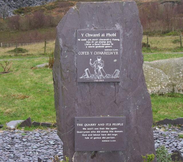 Cofeb y Chwarelwyr - Quarrymen's Memorial at Allt-Ddu