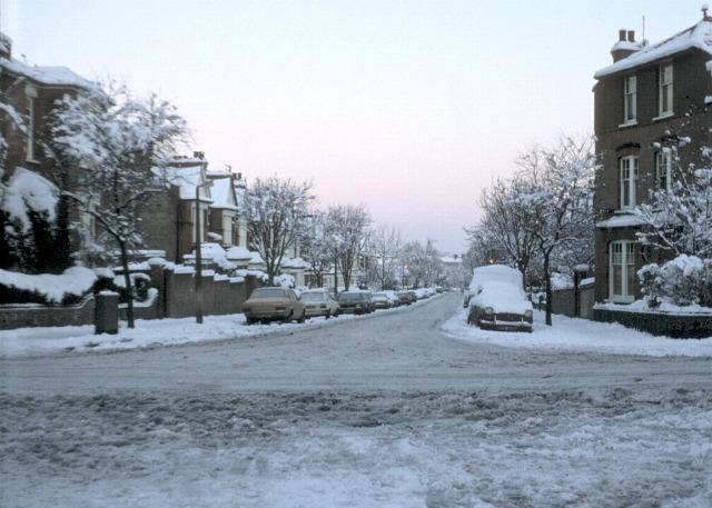 Grove Avenue in the snow
