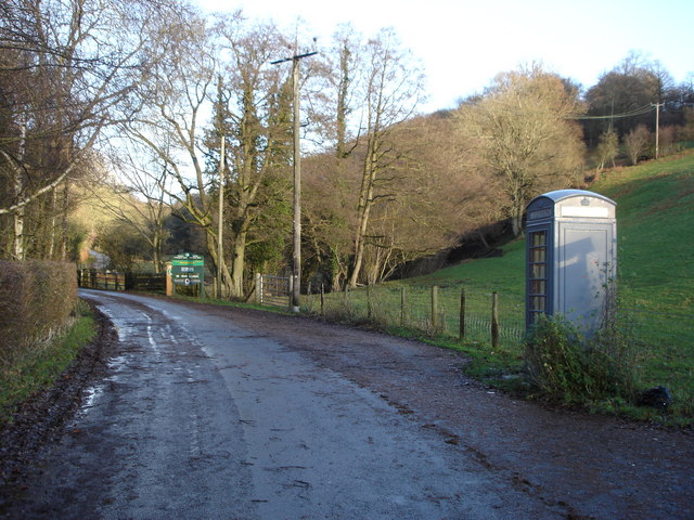 Telephone box on junction below the Mynydd Du Valley