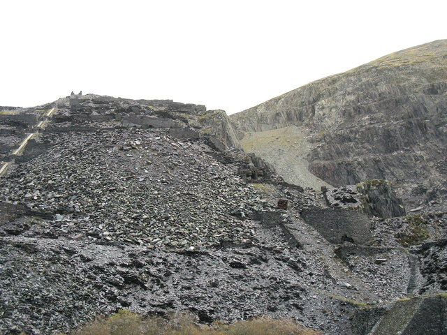 Recent slate tip which has obliterated sections of the Lower Garret galleries