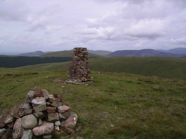 Cairn and Trig Pillar, Lank Rigg